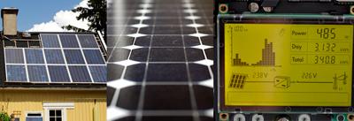 Solenergi som producerar el